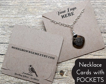 Customized Pocket Fold Necklace Cards - Holds Chain - Jewelry Display Cards - Packaging | BT01BR