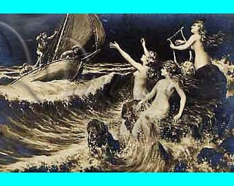 s84 Vintage Sea Sirens in the Night Fabric Postcard Mermaid Fabric Cotton Quilt Block.