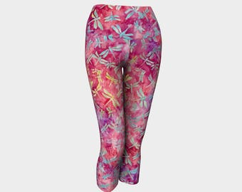 Pink Dragonfly Yoga Capris