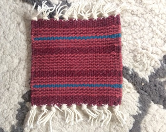 Kilim woven coasters rugs set wool red turquoise tiny