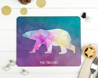 Personalised Geometric Arctic Animal Christmas Placemat - Colourful Low Poly Reindeer/Penguin/Polar Bear/ Arctic Fox/Arctic Hare