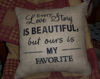 Love Story Embroidered Burlap Wedding Pillow