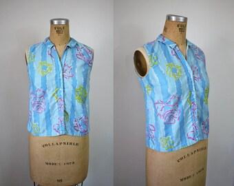 vintage 1950s shirt / 50s sleeveless blouse / 50s button up shirt / novelty print roses / 50s rose stripe top / sz m med medium L large