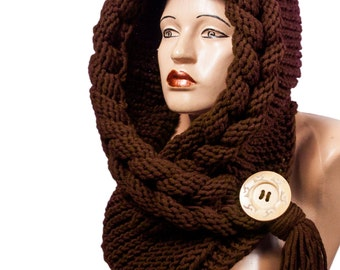 Hooded Scarf, Scarf, Hood, scarf hooded, Chunky scarf, Wool cowl | 3067