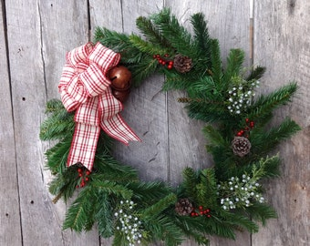 Christmas Wreaths for Front Door, Holiday Wreath, Wreath Christmas, Front Door Wreath, Evergreen Wreath, Jingle Bell Wreath, Plaid Ribbon