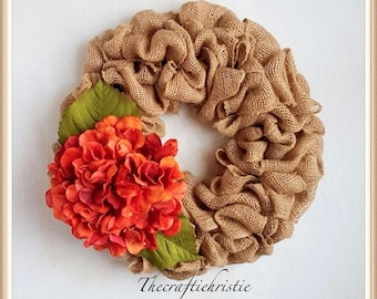 Burlap Wreath-Front Door Burlap Wreath-Burlap Hydrangea Wreath-Hydrangea Wreath-Rustic Burlap Wreath-Everyday Wreath-Rustic Wreath