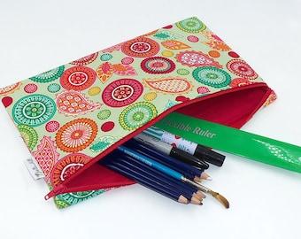 "Pencil Case Jumbo Extra Large School Size padded with chunky zip in ""Modern Tyke"" by Joella Hill Australian Seller"