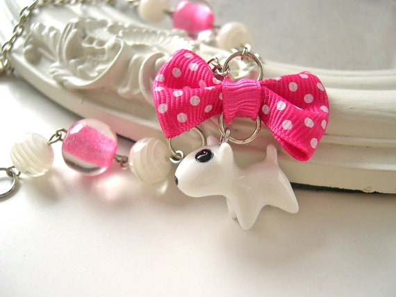 White dog Necklace kawaii lolita bull terrier