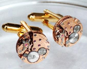 OMEGA Steampunk Cufflinks: Rare GENUINE OMEGA Vintage Watch Movement Matching Men Steampunk Cufflinks Watch Cuff Links Men Wedding Gift