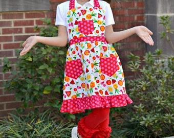Children's Apron, Baking Apron, Fruit Apron, Kids Apron, Girls Apron, Toddler Apron, Little Girls Apron, Handmade Apron,