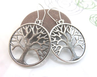 Large Tree of life earrings - silver tree charm earrings - tree charm dangles - round - kidney wires - new age - yoga earrings