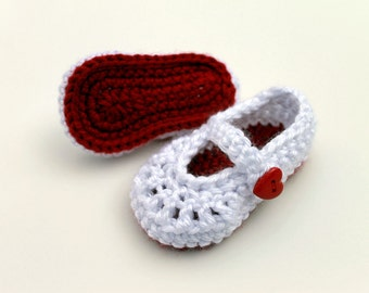 Crocheted Baby Booties in White & Red, Mary Jane Baby Girl Shoes, Crochet Baby Slippers, size 0-3 m, 3-6 m, 6-12 m