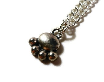 Paw Print Necklace, Silver Bear Paw Necklace, Animal Necklace, Metal Charm Necklace, Pendant Necklace, Teen and Women's Jewelry, Gift Idea