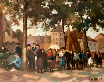 Village square and people in Northern France (antique oil painting)