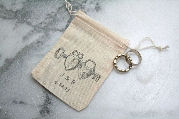 Personalized cotton wedding ring bag rustic cloth ring bag