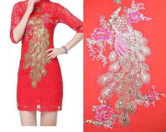 x 1 large and beautiful guipure lace applique embroidered Peacock/flower sewing 63 x 36 cm @16