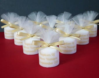 Personalised Christening/Baptism/Holy Communion Votive Candle Favours With Photo Set 10