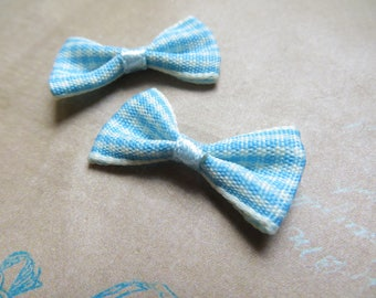 4 bowties turquoise gingham fabric