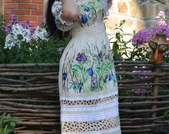 """Linen embroidered author's dress """"Princess"""""""
