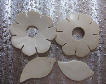 Wood Flower Leaf Bead Set Flower 45mm Leaf 38mm Jewelry Craft Beads Coconut Shell Beads