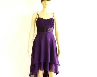 Dark Purple Bridesmaid Dress. Dark Purple High Low Dress. Knee Length Evening Dress. Chiffon Party Dress.