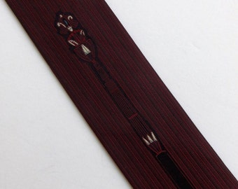 Vintage 60's Skinny Tie Necktie All Silk in Burgundy Red and Black with Embroidered Design