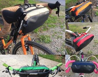 """The """"Bar Bag"""" bicycle handlebar bag made from repurposed materials"""