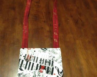 Red ,White and black piano key cross body mini purse.