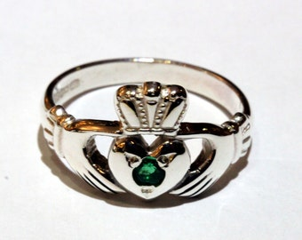 Claddagh Ring with gem stone