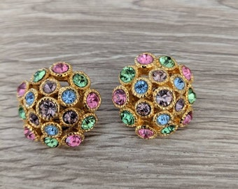 Pastel Vintage Clip On Round Earrings Clip Ons