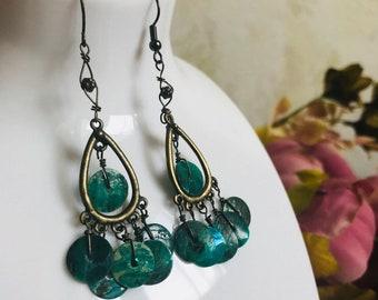 Vintage earrings with green beads handmade