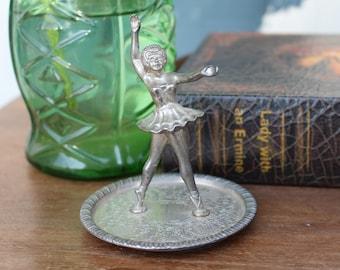 Vintage Silver Plated Zinc Ballerina Trinket Dish/Ring Holder