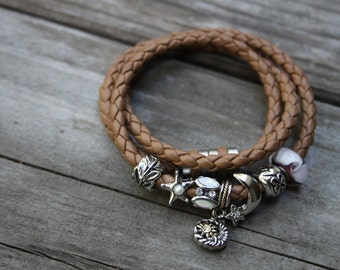 """Hand braided camel brown leather bracelet, European style charm, pugster charm, bolo leather bracelet, brown leather, 21"""", magnetic clasp"""