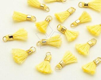TA-032-GD / 6 pcs - Tiny Mini Tassel Pendant (Topas Yellow), Handmade Small Cotton Tassels, with Gold Plated Brass Ring / 12mm