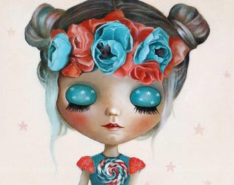Under the stars , pop surrealism original art PRINT , big eyed, queer art fairytale, ooak blythe, girl portrait, turquoise painting