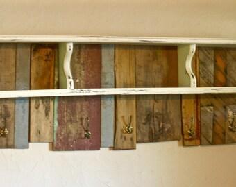 Reclaimed Barn Wood Organizing Shelf + Rack, Wall Coat Rack, Entryway Organizer, Rustic Entryway Organizer, Farm House Kitchen Shelf Storage