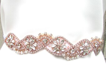 Rose Gold Silver White Pearl Bridal Belt Sash Vintage Crystal Wedding Bead 934