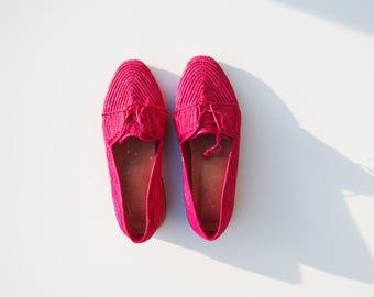 Pink Raffia Shoes / Pink Raffia Clogs / Raffia Slip ons / Raffia clogs / Moroccan Boubouches