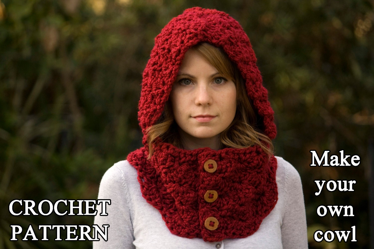 Crochet pattern hooded cowl button neck warmer crochet zoom bankloansurffo Gallery