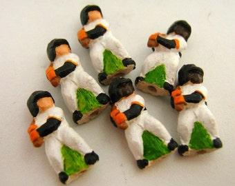 10 Tiny Baseball Player Beads