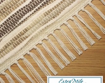 """Handmade Rag Rug Runner Woven on a Loom Brown and Ivory 27.5"""" x 58"""" Machine Washable"""