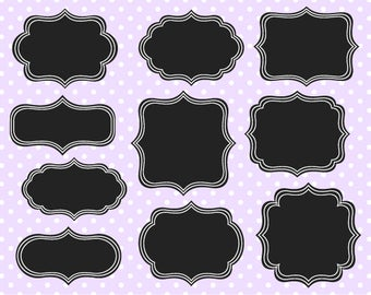 Chalkboard Fancy Digital Frames 1 - Clipart Frames - Instant Download - Commercial Use