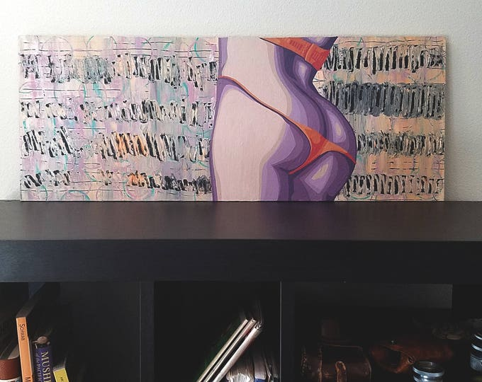 """Featured listing image: """"Therese"""" Pop Art Lingerie Painting [acrylic on particle board, 11.5x30""""]"""