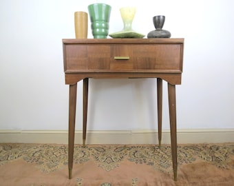 Mid Century Sewing Table // Vintage Modern Style Sewing Desk WITHOUT Sewing Machine End Table Entryway Stand Checkerboard Front Design Tall