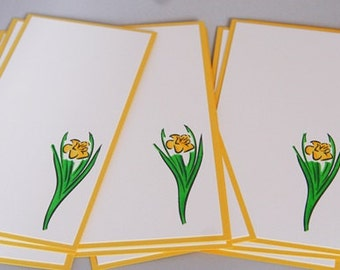Daffodil Note Card Stationery Set of Ten, Hand Made Daffodil Cards, Flower Note Cards, Flower Stationery Set for Her Teacher Notes