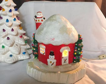1970's hand painted ceramic Christmas  musical house