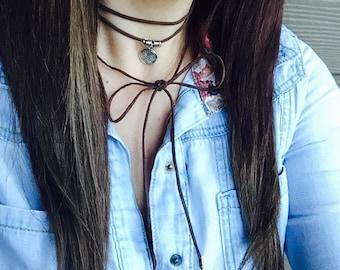 Wrap Choker, Vegan Suede Choker, Charm Choker, Long Necklace, Wrap Necklace, Vegan Necklace, Gift for her, Bolo Choker