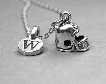 Football Helmet Necklace, Helmet charm, Sports jewelry, personalized jewelry, initial necklace, monogram letter, hand stamped, initial charm