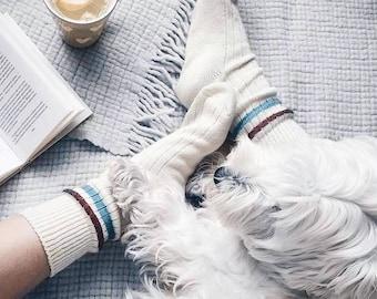 Alcona Warm White Winter Socks for Men and Women