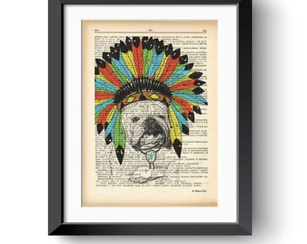 English bulldog print-funny dog print-native american bulldog print-gift for dog lovers-dictionary print-pet lovers gift-NATURA PICTA-DP177